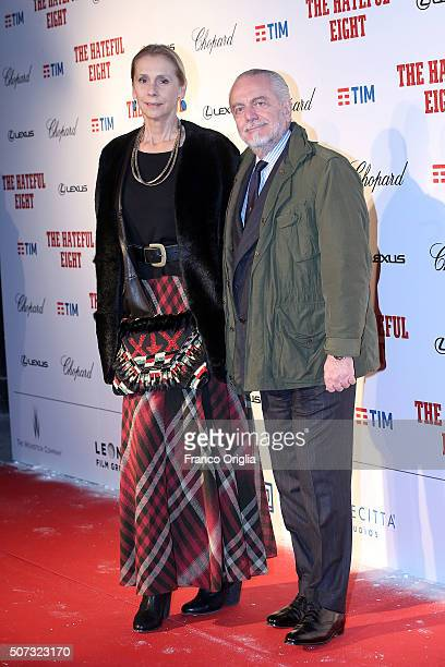 Aurelio De Laurentiis and Jacqueline Baudit walk the red carpet for 'The Hateful Eight' premiere at on January 28 2016 in Rome Italy