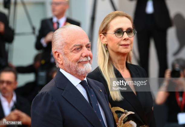 Aurelio De Laurentiis and Jacqueline Marie Baudit walks the red carpet ahead of the closing ceremony of the 76th Venice Film Festival at Sala Grande...