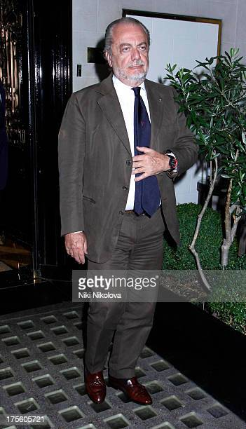 Aurelio De Laurentiis leaving Scotts Restaurant Mayfair on August 4 2013 in London England
