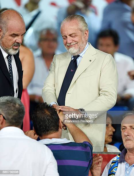 Aurelio De Laurentiis the President of SSC Napoli looks on prior to during the preseason friendly match between SSC Napoli and OGC Nice at Stadio San...