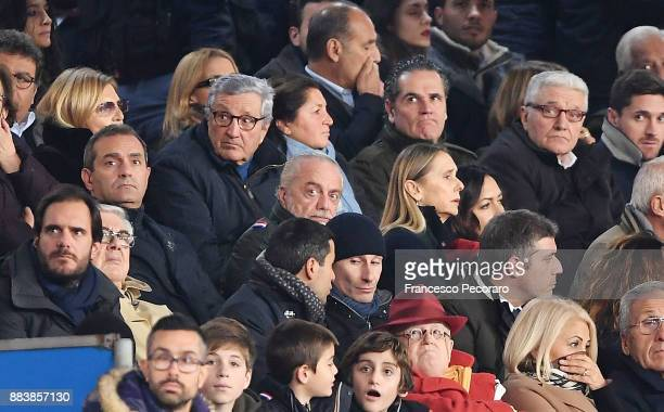 Aurelio De Laurentiis the President of SSC Napoli looks on prior to the Serie A match between SSC Napoli and Juventus at Stadio San Paolo on December...