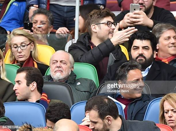 Aurelio De Laurentis President of SSC Napoli and Antonino Cannavacciuolo during the Serie A match between AS Roma and SSC Napoli at Stadio Olimpico...