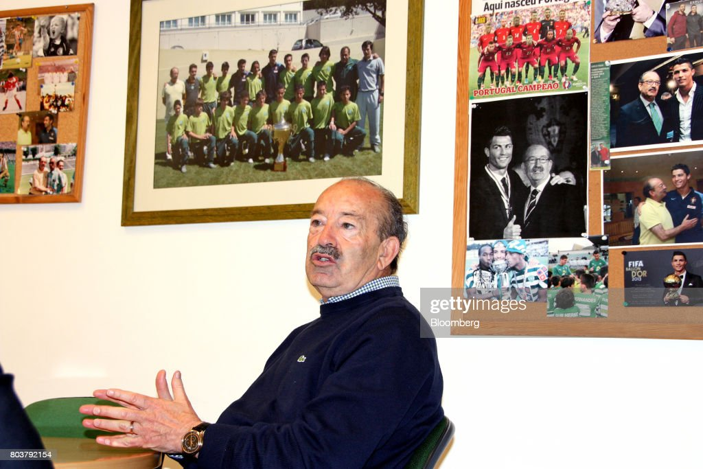 Aurelio Pereira, head of the Sporting Clube de Portugal (SCP), speaks during an interview in Lisbon, Portugal, on Friday, April 28, 2017. Portuguese teams breed athletes for the most lucrative leagues in the worlds richest sport and it gives the nation of 10 million with limited domestic income from television rights and merchandising a slice of global soccers riches. Photographer: Henrique Almeida/Bloomberg via Getty Images