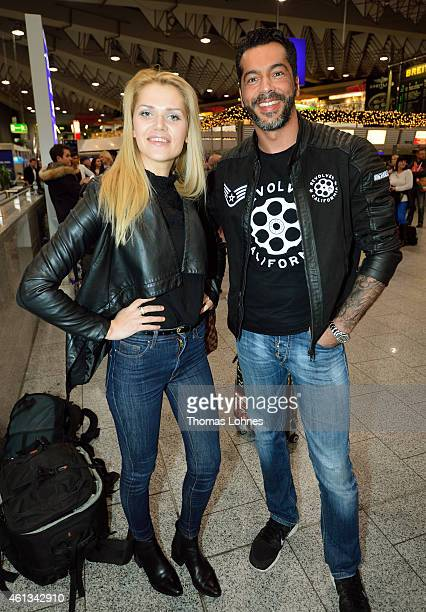 Aurelio Savina and Sarah Kulka pose before the flight to Australia as a participants in the 2015 RTL-TV-Show 'Dschungelcamp: Ich bin ein Star - Holt...