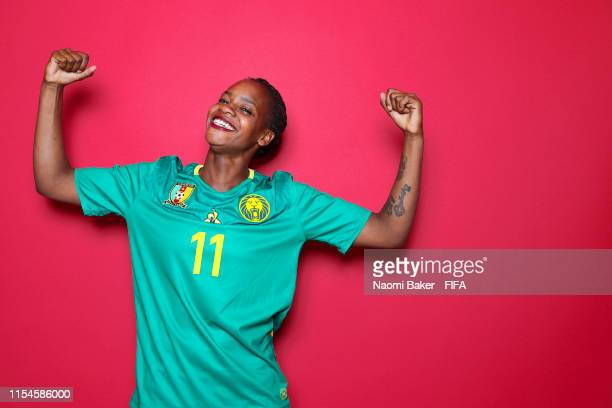 Aurelle Awona of Cameroon poses for a portrait during the official FIFA Women's World Cup 2019 portrait session at Crowne Plaza Montpellier Corum on...