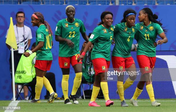 Aurelle Awona, Yvonne Leuko, Augustine Ejangue, Michaela Abam and Jeannette Yango of Cameroon celebrate their side's first goal during the 2019 FIFA...