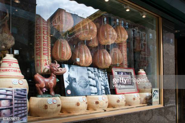 Auricchio Provolone Cheese in Di Palo's Italian Food Shop Window in Little Italy in New York City USA