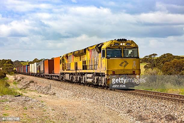 Aurizon long-haul freight train in rural countryside