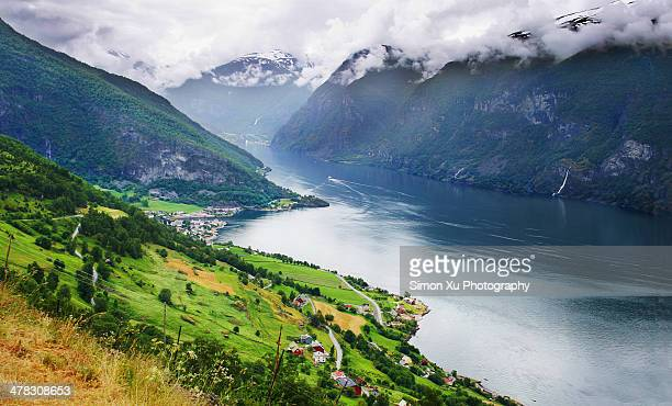 aurlands fjord, norway - bedrock stock pictures, royalty-free photos & images