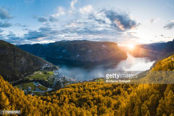 aurlandsfjord at sunset, norway - valley stock pictures, royalty-free photos & images