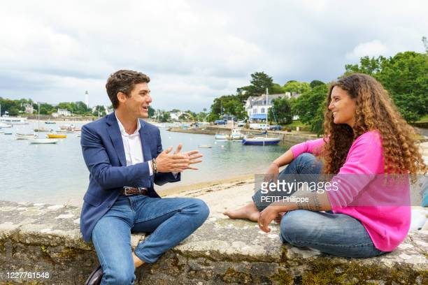 Aurélien Pradie, LR deputy for the Lot, and Marie Tabarly from the Elemen'Terre foundation are photographed for Paris Match on June 17, 2020 in...