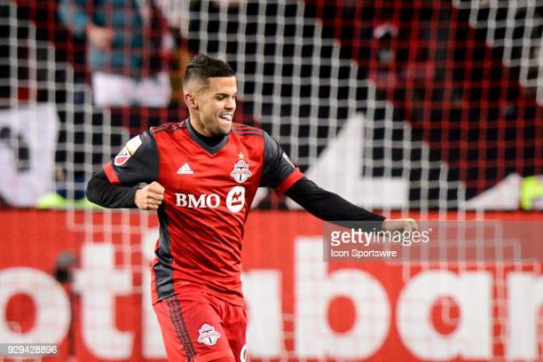 Auro Jr of Toronto FC celebrates after a goal during the CONCACAF Champions League Quarterfinal match between Toronto FC and Tigres UANL on March 7...