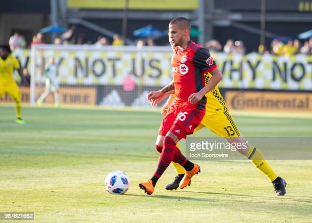 Auro of Toronto FC contorts the ball during the game between the Columbus Crew SC and the Toronto FC at MAPFRE Stadium in Columbus Ohio on June 02...