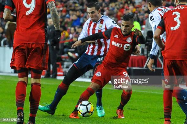 Auro with the ball during the 2018 CONCACAF Champions League Final match between Toronto FC and CD Chivas Guadalajara at BMO Field in Toronto Canada...