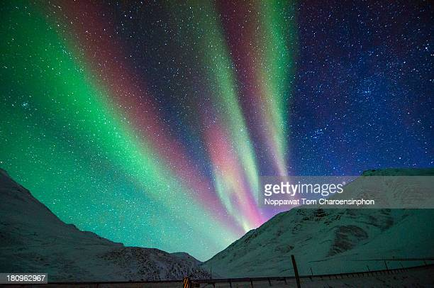 Aurora above Alaskan Mountains