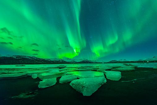 Aurora above big glacier at Iceland - gettyimageskorea
