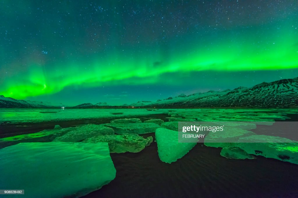 Aurora above glacier at Iceland : Stock Photo
