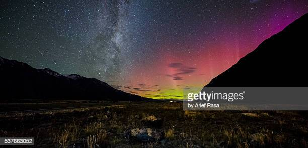 Aurora Australis And Milky Way At Mount Cook National Park
