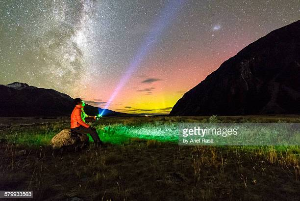Aurora Australis and Milky Way at mount Cook