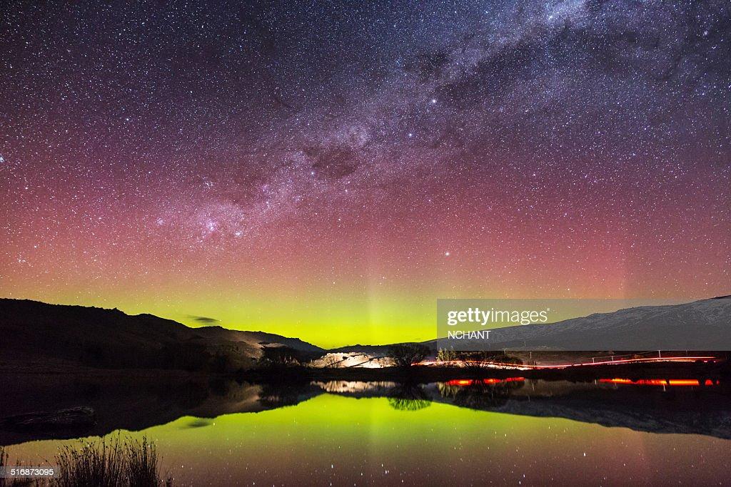 Aurora Australis in New Zealand : Stock Photo
