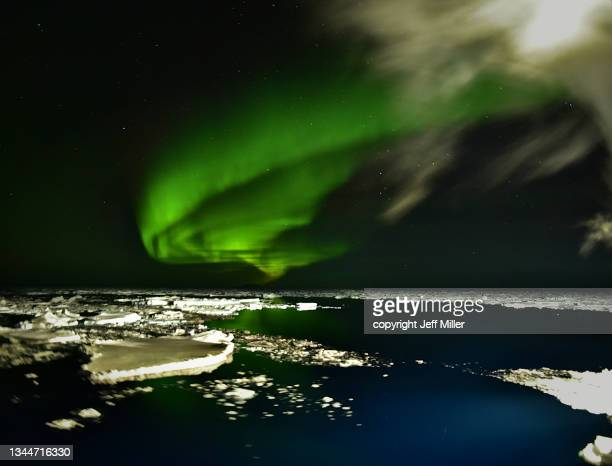 aurora australis over pack ice in the southern ocean, antarctica. - pack ice stock pictures, royalty-free photos & images