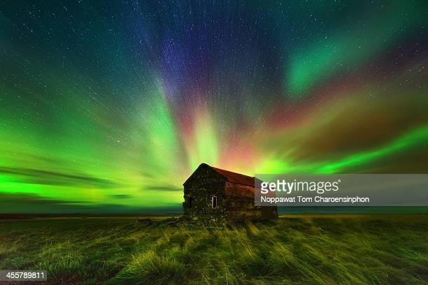 Aurora Borealis above Barn