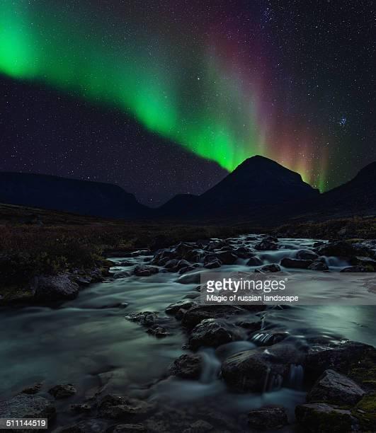 Aurora Borealis above Belaya river in Khibiny