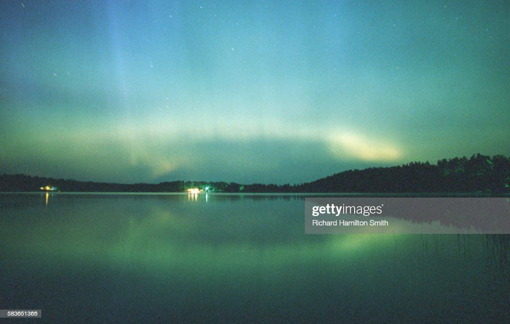 aurora borealis above minnesota usas blue lake stock photo getty
