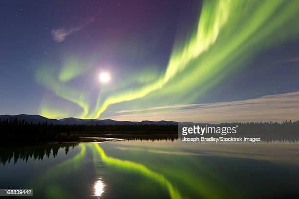 Aurora Borealis and Full Moon over the Yukon River, Whitehorse, Yukon, Canada.