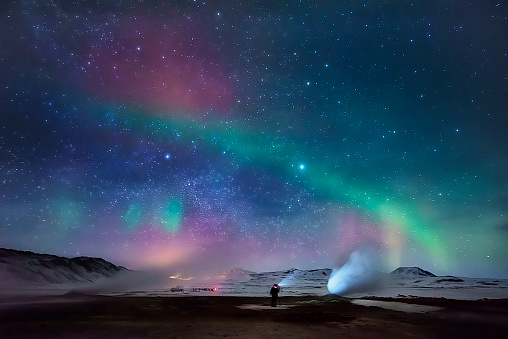 Aurora Borealis and Geothermal Steam, Iceland - gettyimageskorea