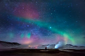 Aurora Borealis and Geothermal Steam, Iceland