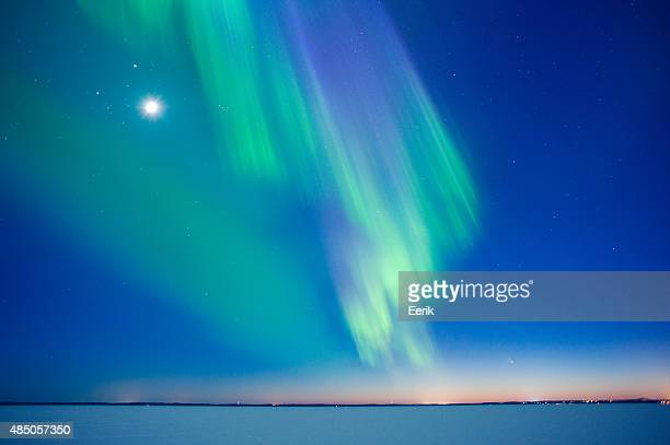 Aurora Borealis and Moon