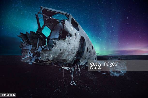 Aurora borealis and old plane crashed in Iceland