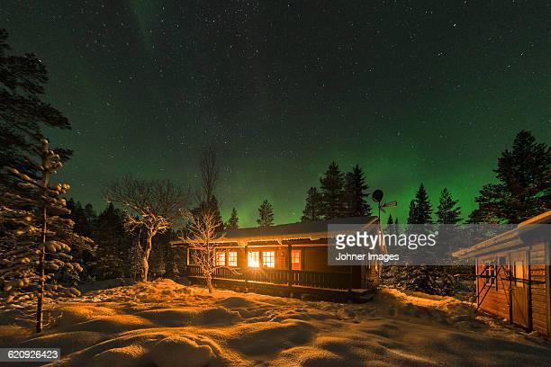Aurora borealis and stars above log house