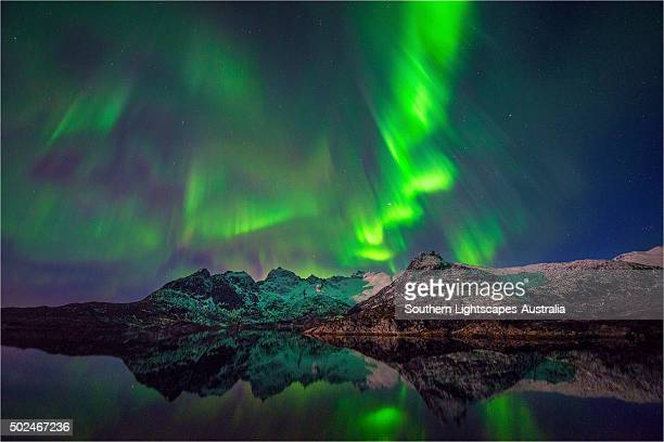 Aurora Borealis at night, Lofoten Peninsular, Norway