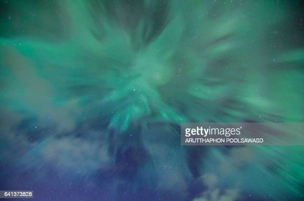 aurora borealis boom on the blue sky , landscape nature - aurora australis stock pictures, royalty-free photos & images