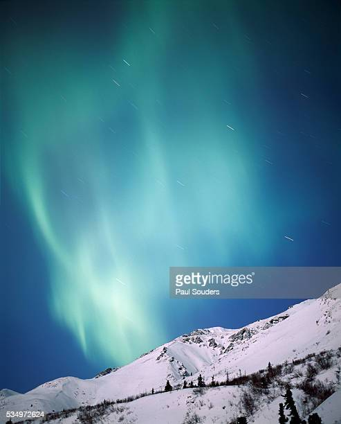 aurora borealis, chugach state park, anchorage, alaska - chugach state park stock pictures, royalty-free photos & images