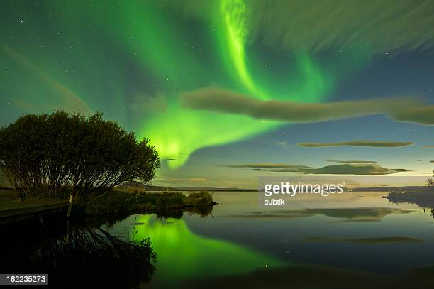 Aurora Borealis in green lights in Iceland