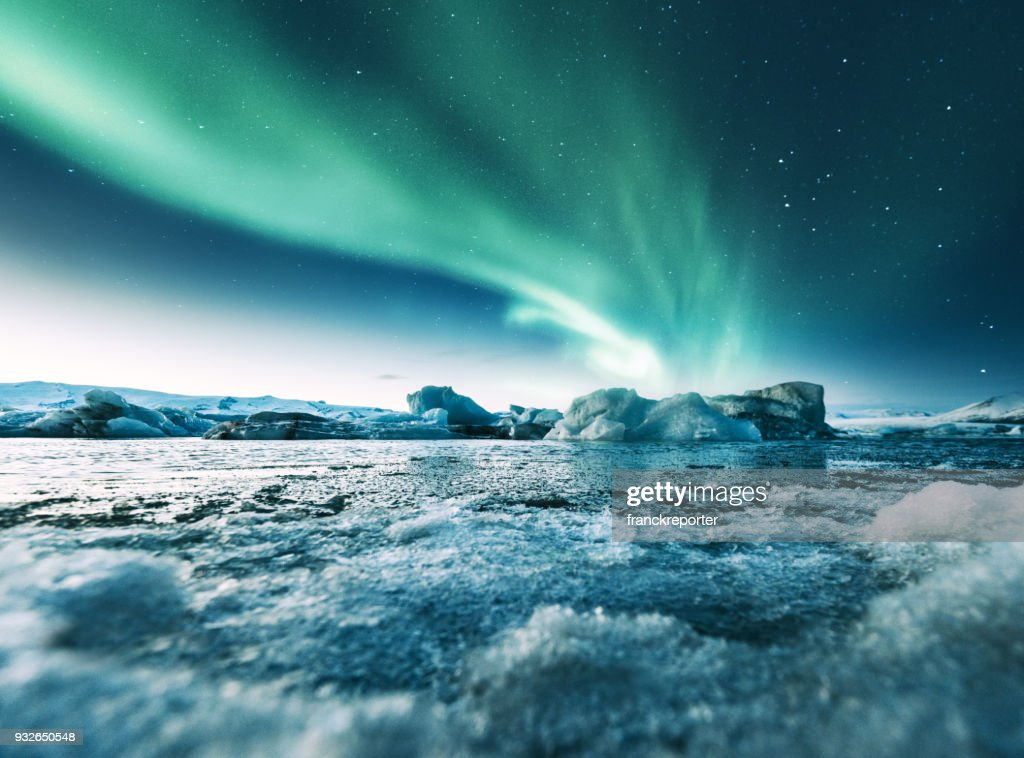 aurora borealis in iceland at jakulsarlon : Stock Photo