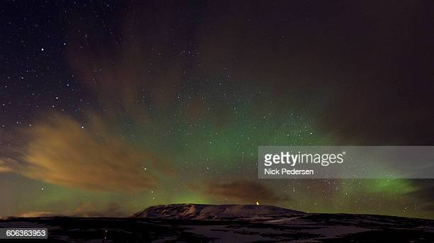 aurora borealis in iceland - pingvellir national park stock photos and pictures