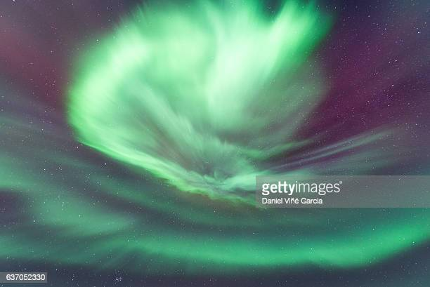 aurora borealis in te sky - austurland stock pictures, royalty-free photos & images