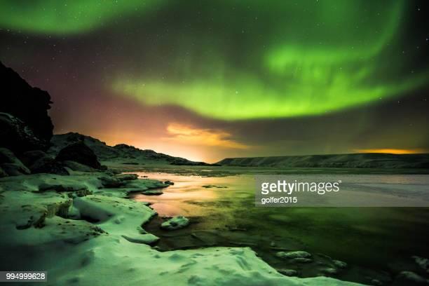 aurora borealis - lake kleifarvatn - iceland - reykjavik stock pictures, royalty-free photos & images