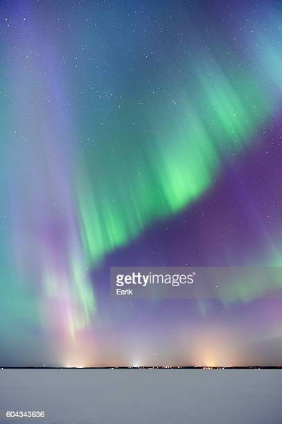 Aurora Borealis, Northern Lights, above frozen lake
