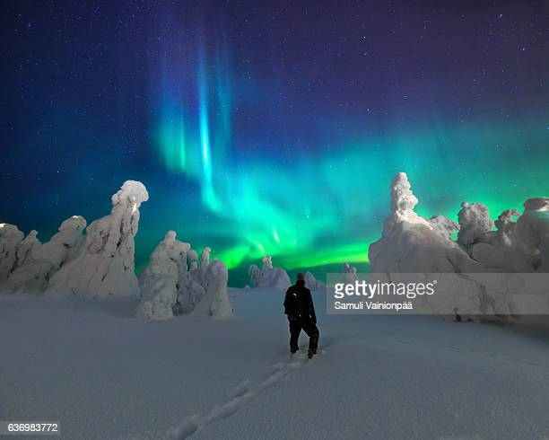 aurora borealis / northern lights, iso-syöte finland - finland stock pictures, royalty-free photos & images