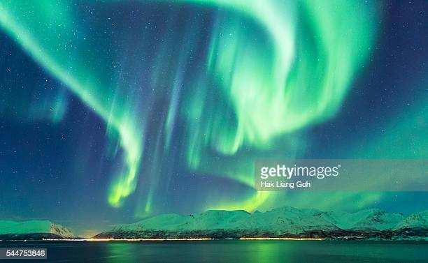 aurora borealis, norway - aurora borealis stock pictures, royalty-free photos & images