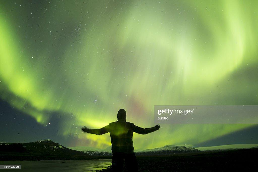 aurora borealis on iceland : Stock Photo