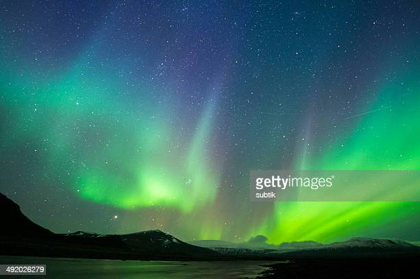aurora borealis on iceland - aurora borealis stock pictures, royalty-free photos & images