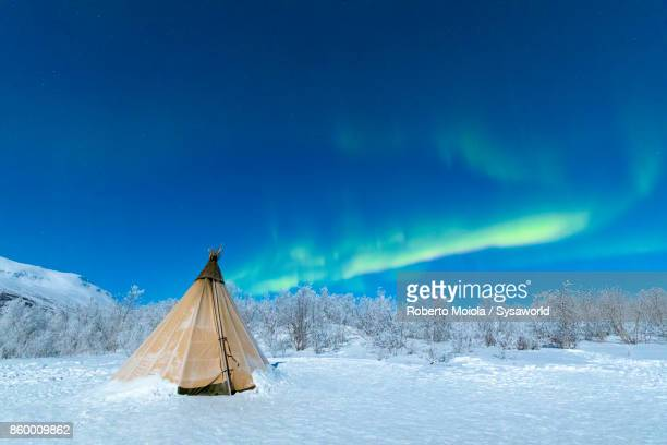Aurora Borealis on Sami tent, Swedish Lapland