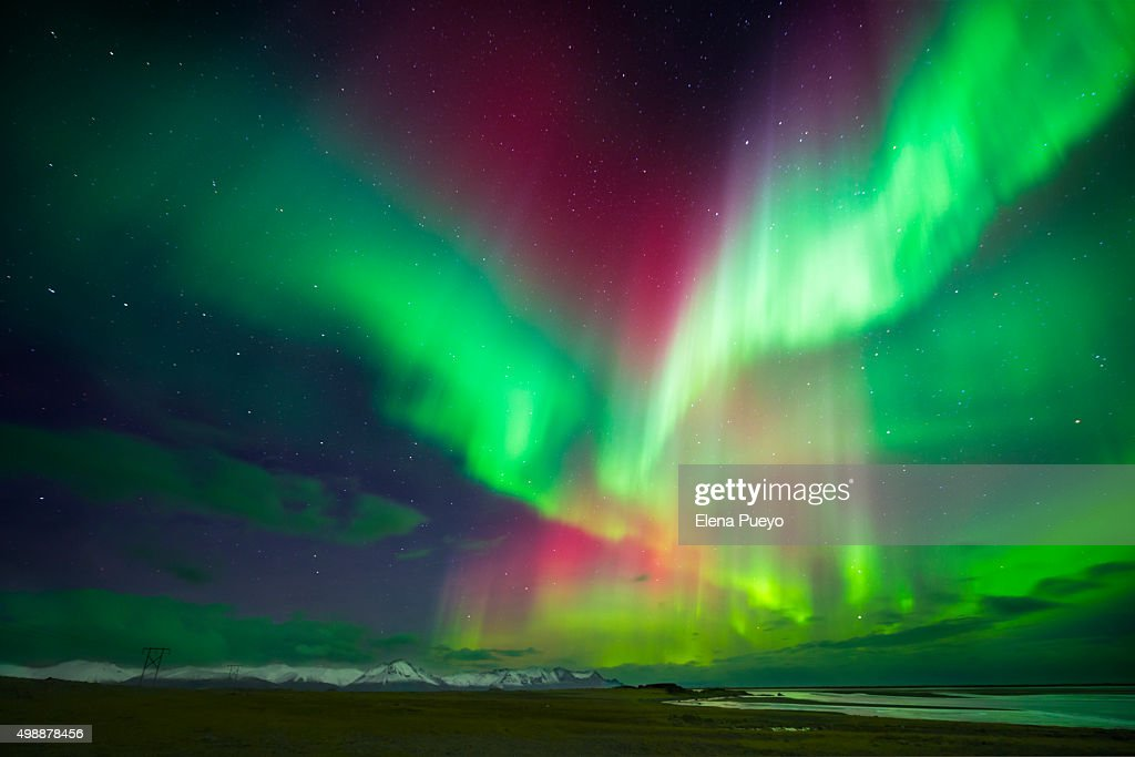 Aurora Borealis Or Northern Lights, Iceland Wall Art. Photo ID 498878456