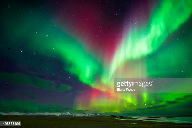 aurora borealis or northern lights, iceland - aurora borealis stock pictures, royalty-free photos & images